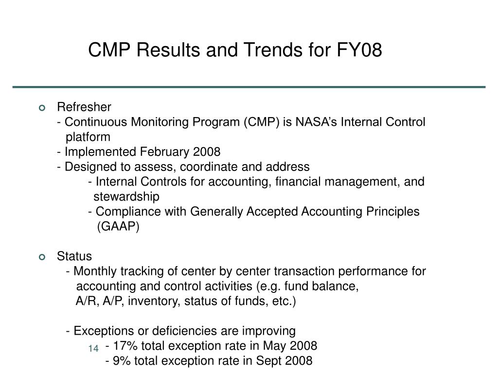 CMP Results and Trends for FY08