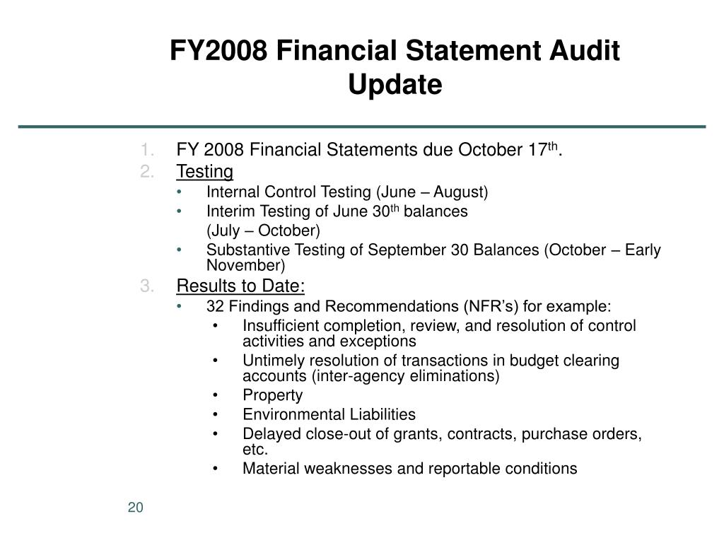 FY2008 Financial Statement Audit Update