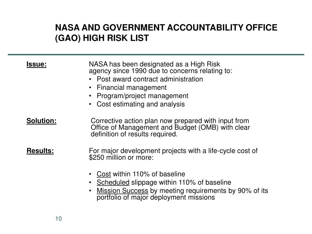 NASA AND GOVERNMENT ACCOUNTABILITY OFFICE (GAO) HIGH RISK LIST