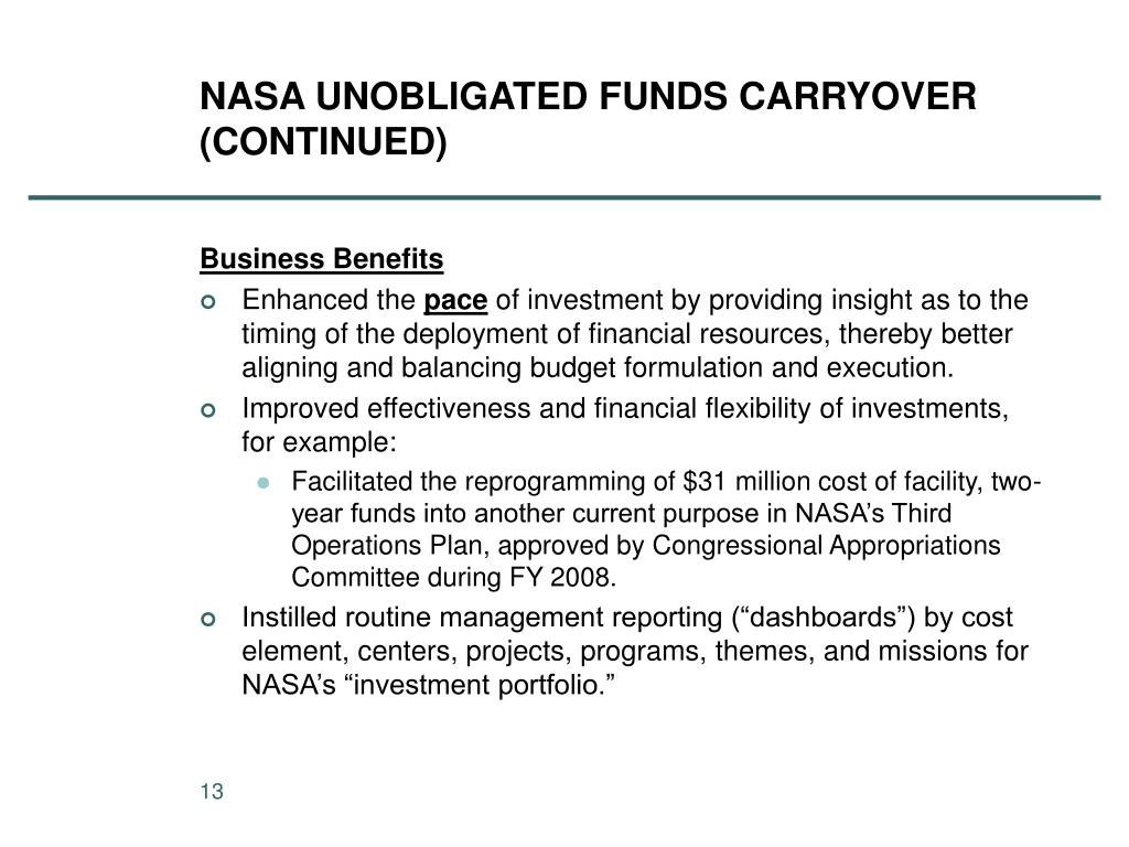 NASA UNOBLIGATED FUNDS CARRYOVER (CONTINUED)