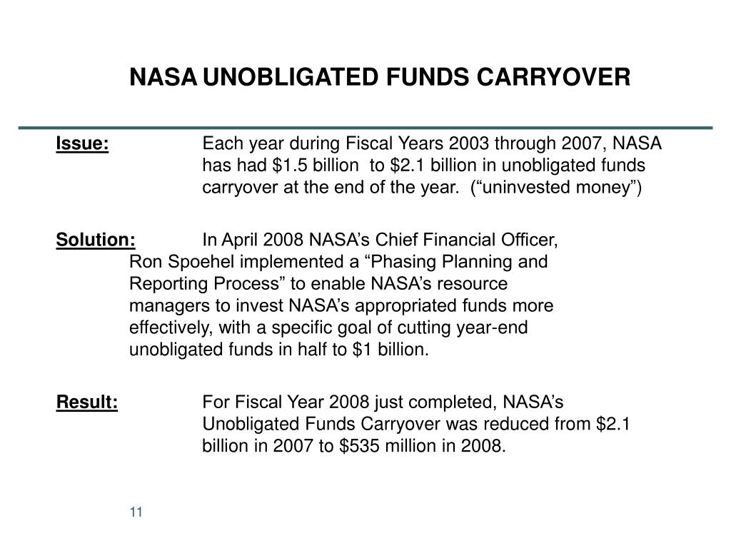 NASA	UNOBLIGATED FUNDS CARRYOVER