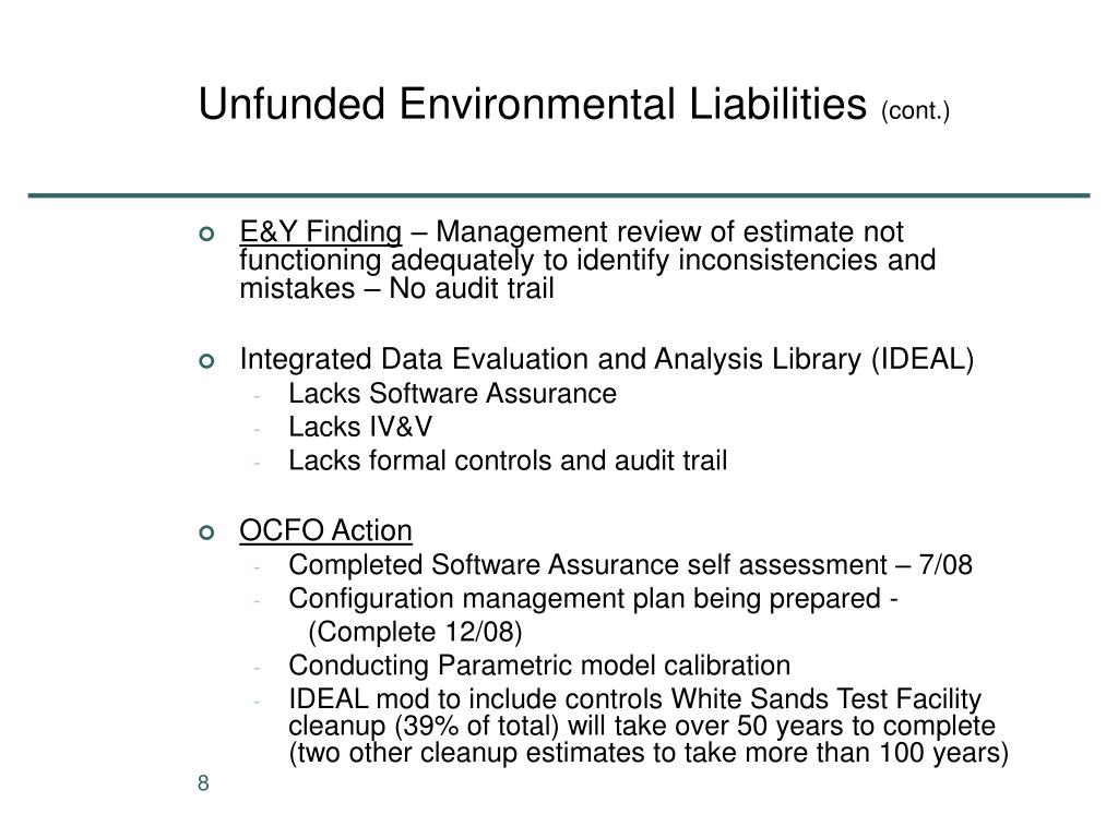 Unfunded Environmental Liabilities