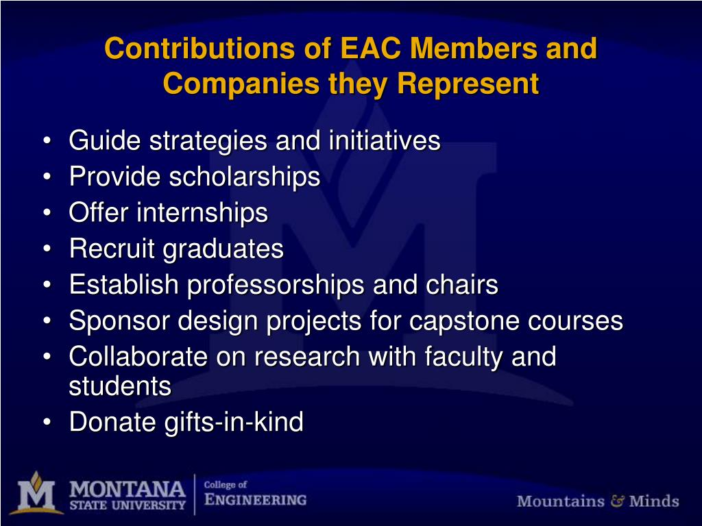 Contributions of EAC Members and Companies they Represent