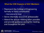 what the coe expects of eac members