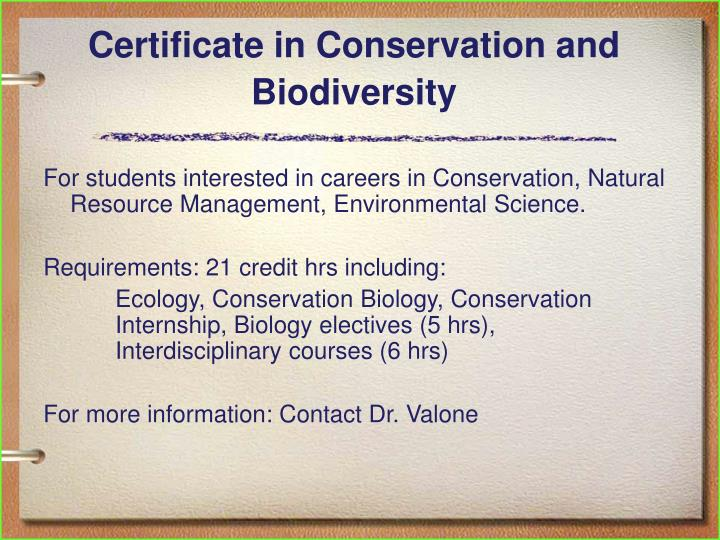 Certificate in Conservation and Biodiversity