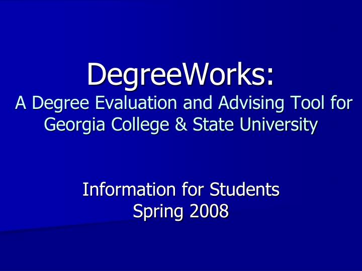 DegreeWorks: