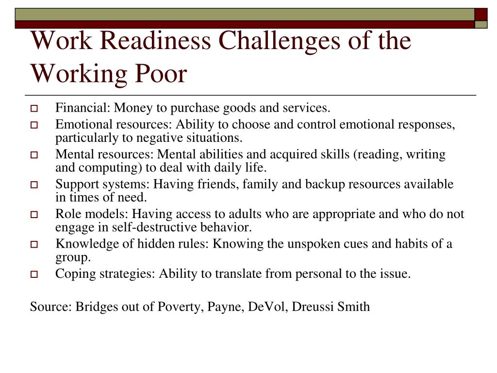 Work Readiness Challenges of the Working Poor