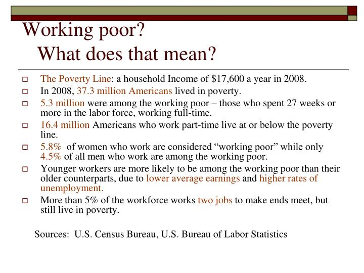 Working poor what does that mean