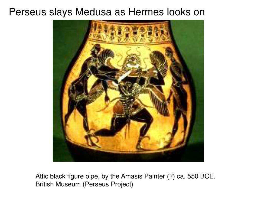 Perseus slays Medusa as Hermes looks on