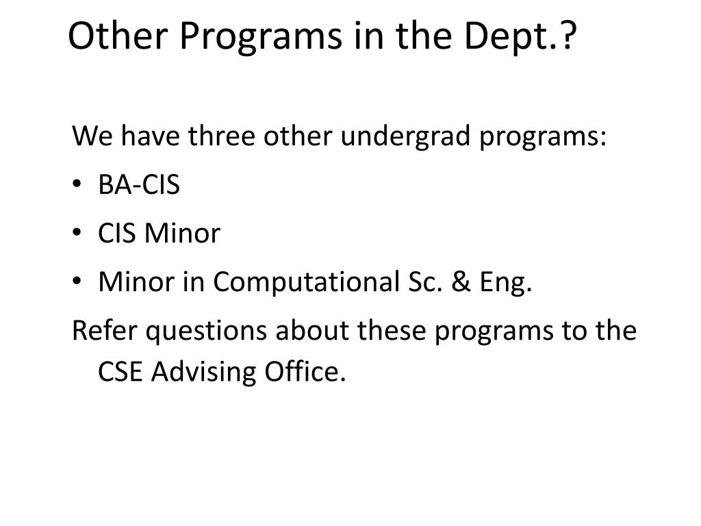 Other Programs in the Dept.?