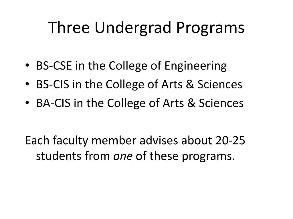 Three Undergrad Programs