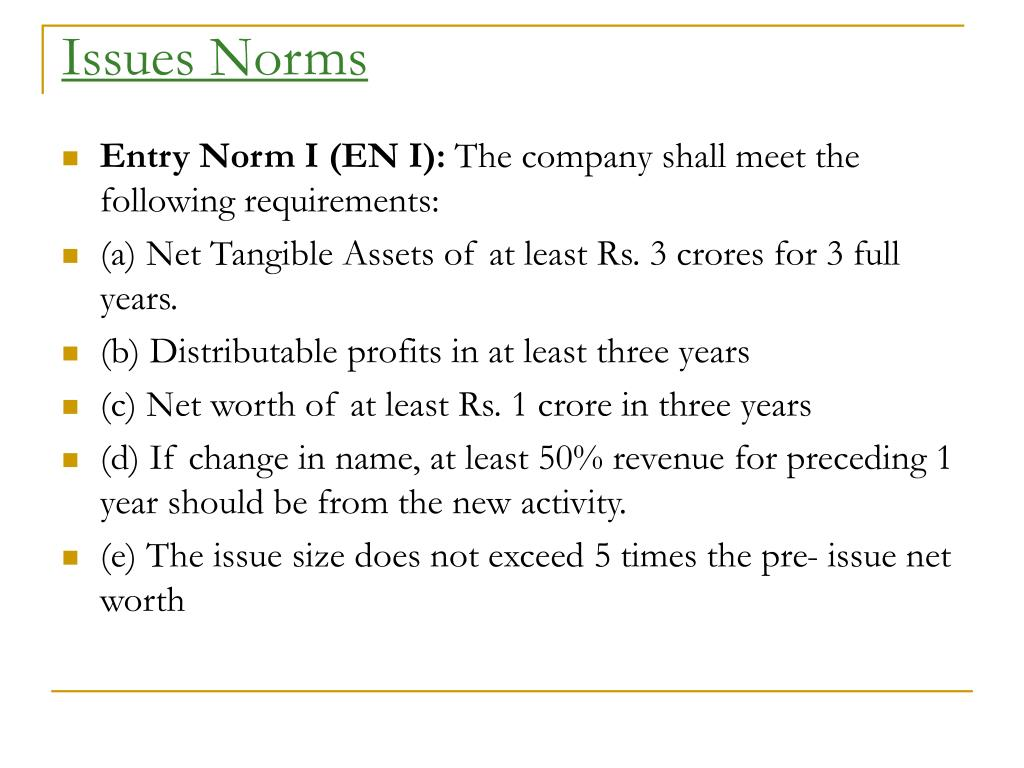 Issues Norms