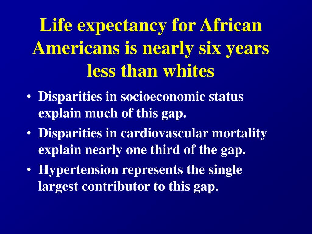 Life expectancy for African Americans is nearly six years less than whites