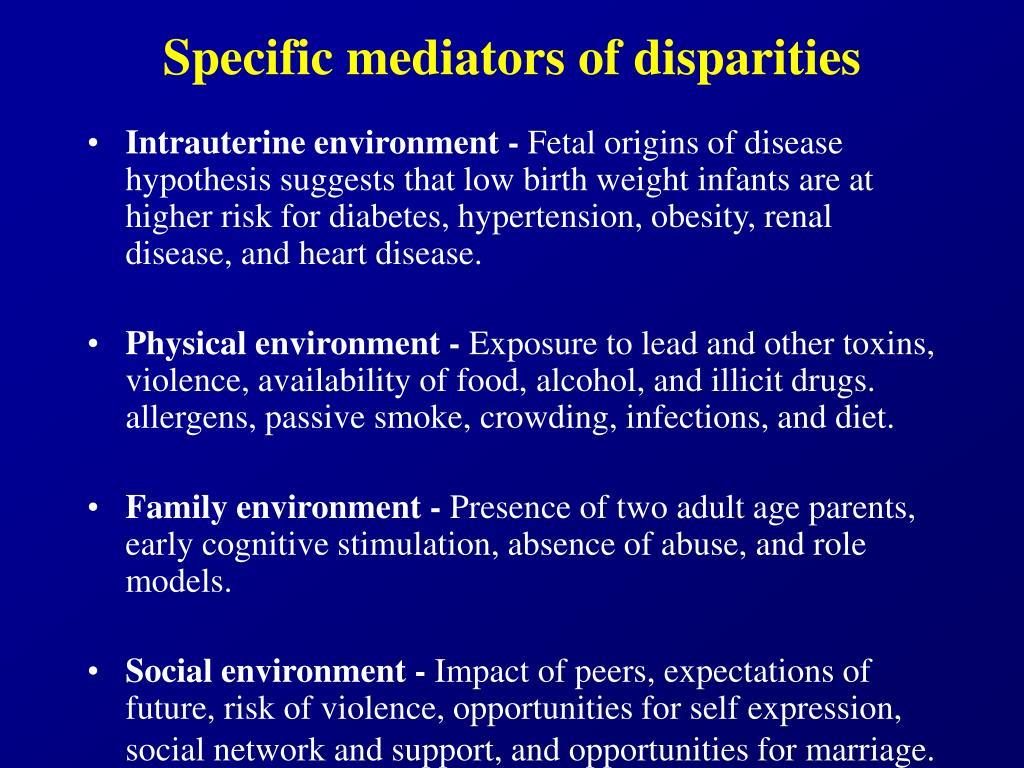 Specific mediators of disparities