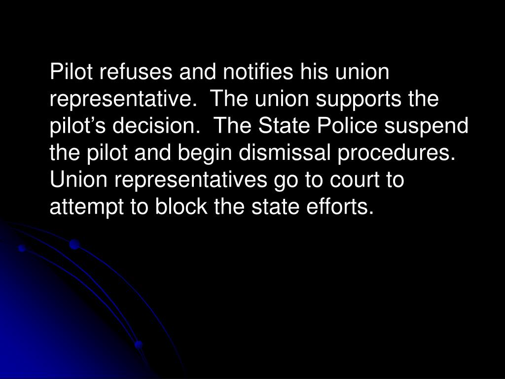Pilot refuses and notifies his union representative.  The union supports the pilot's decision.  The State Police suspend the pilot and begin dismissal procedures.  Union representatives go to court to attempt to block the state efforts.
