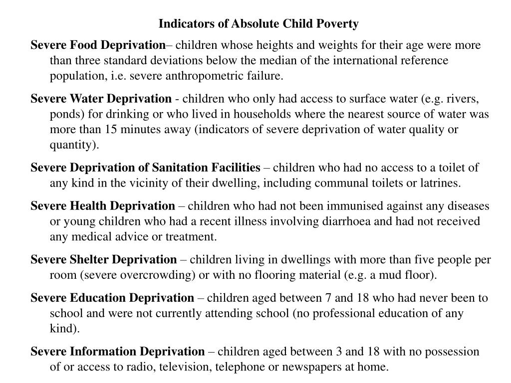 Indicators of Absolute Child Poverty