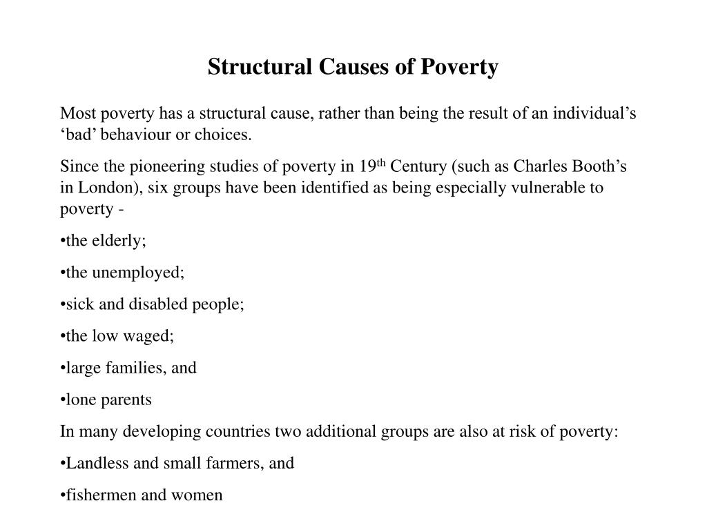 Structural Causes of Poverty