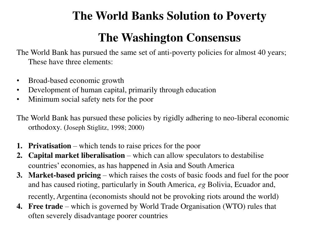 The World Banks Solution to Poverty