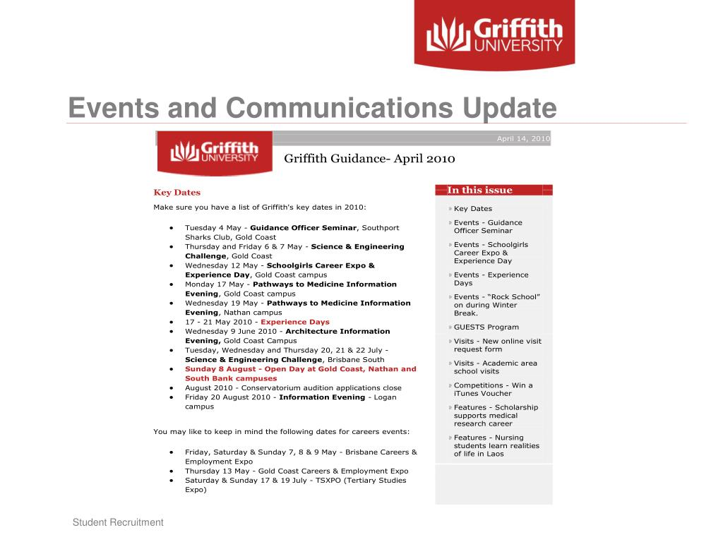 Events and Communications Update