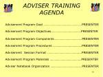 adviser training agenda