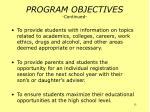 program objectives continued15