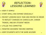 reflection lessons learned