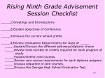 rising ninth grade advisement session checklist