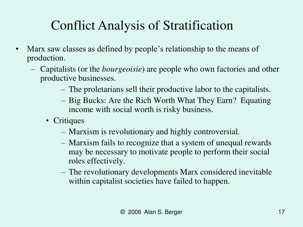 Conflict Analysis of Stratification