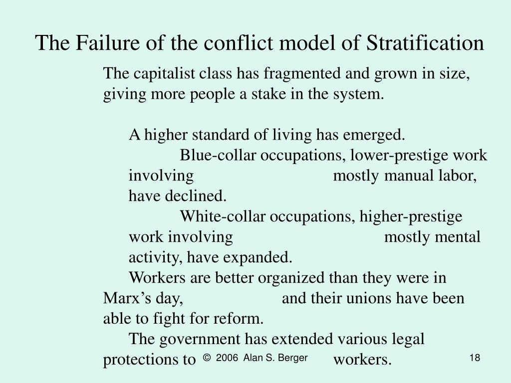 The Failure of the conflict model of Stratification