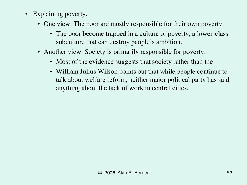 Explaining poverty.