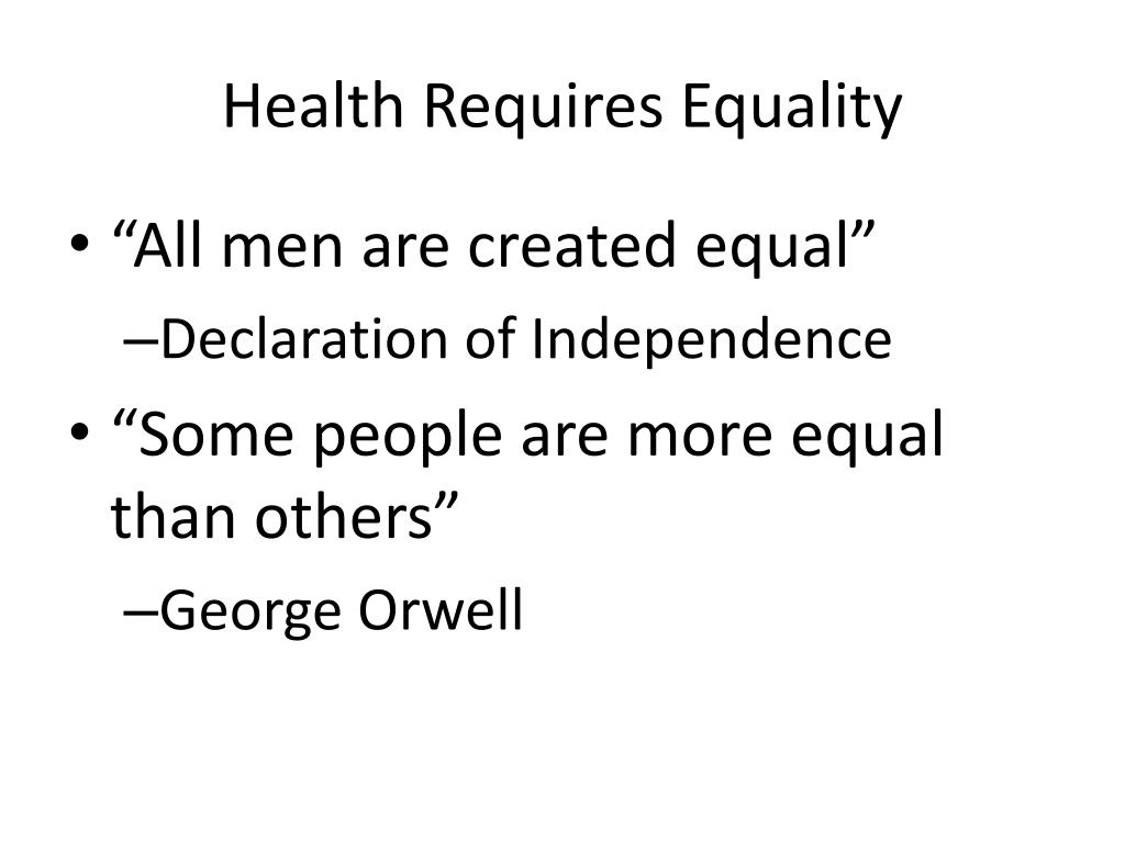 Health Requires Equality