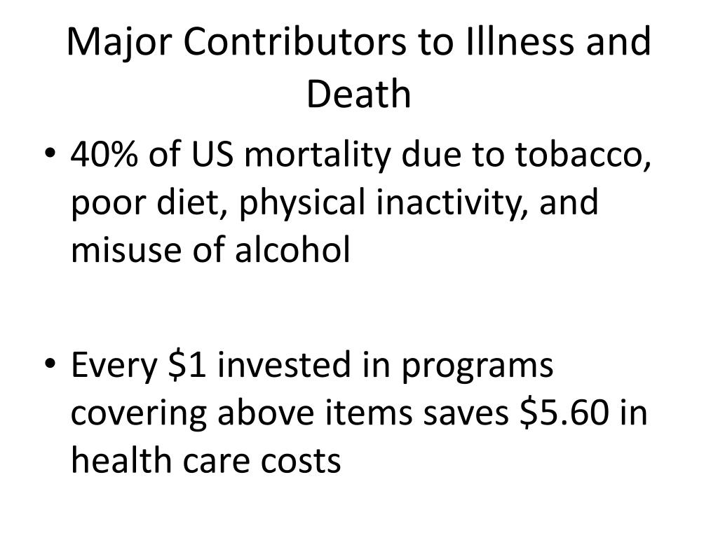 Major Contributors to Illness and Death