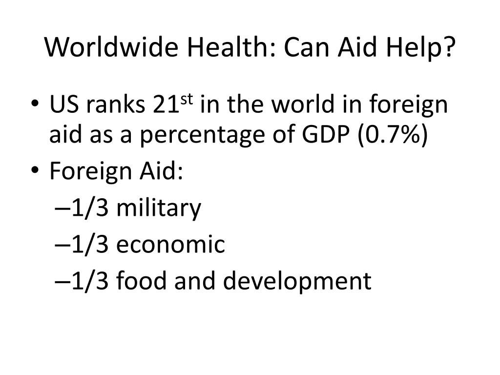 Worldwide Health: Can Aid Help?