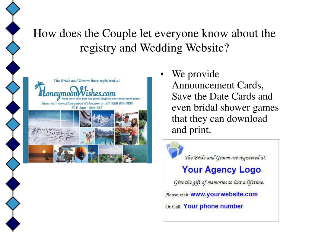 How does the Couple let everyone know about the registry and Wedding Website?