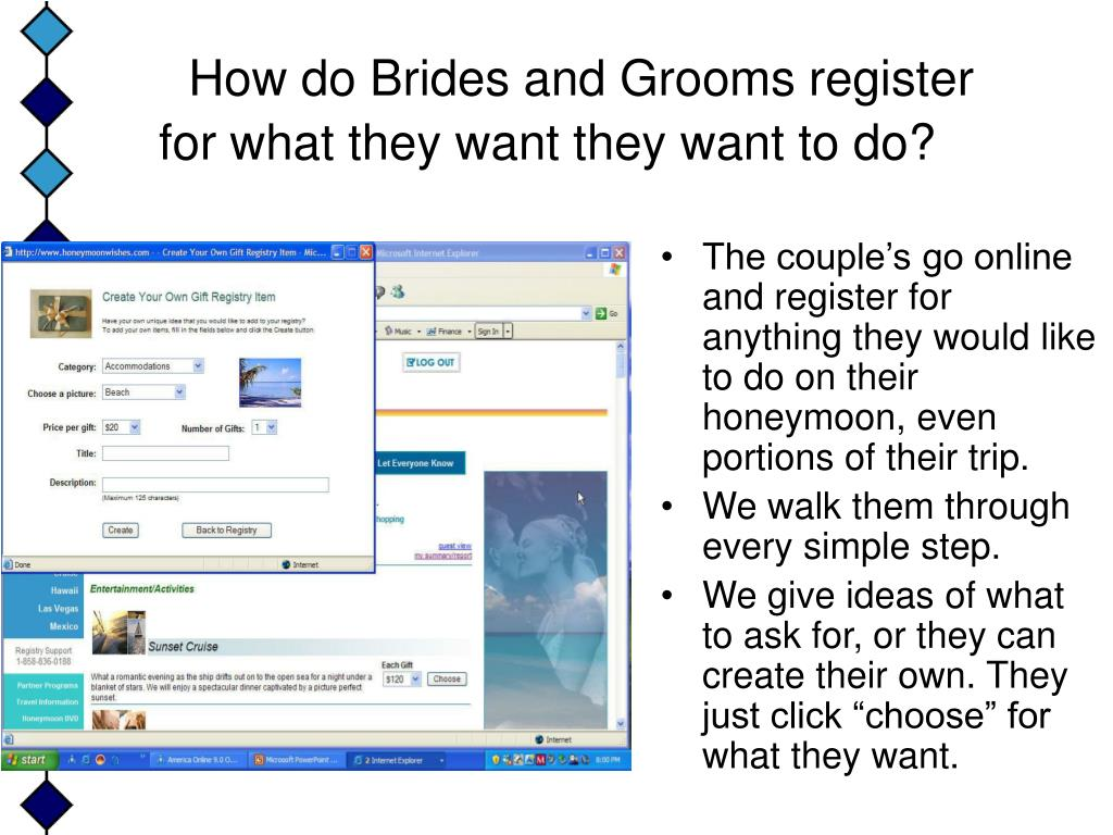 How do Brides and Grooms register for what they want they want to do?