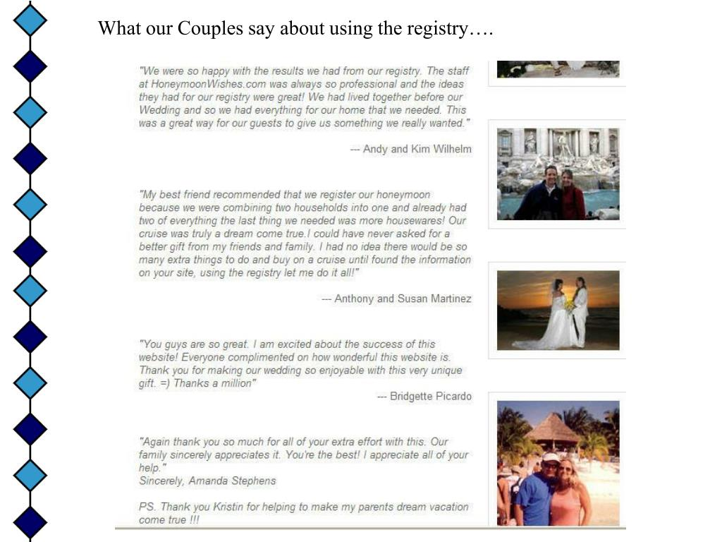 What our Couples say about using the registry….
