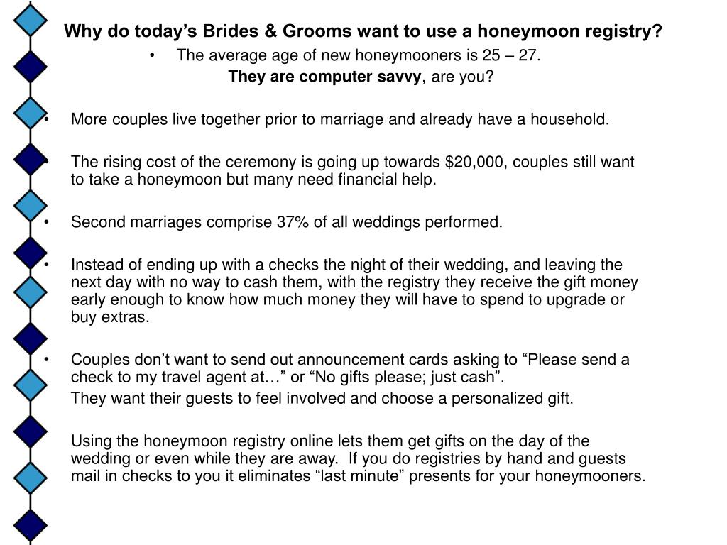 Why do today's Brides & Grooms want to use a honeymoon registry?