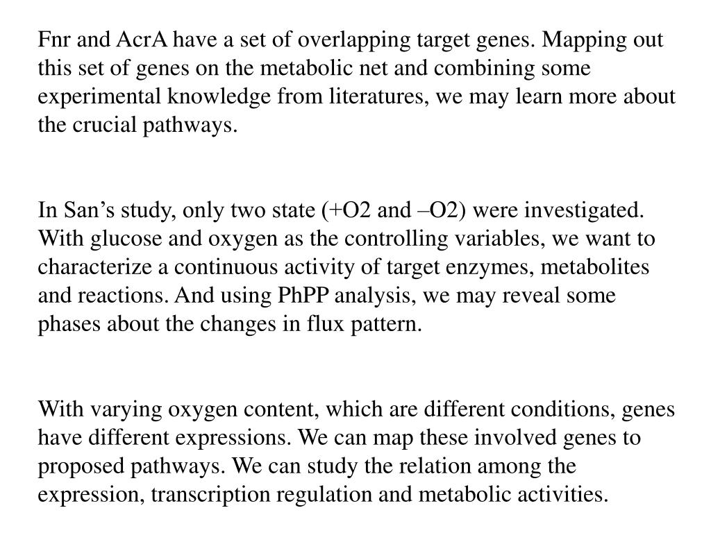 Fnr and AcrA have a set of overlapping target genes. Mapping out this set of genes on the metabolic net and combining some experimental knowledge from literatures, we may learn more about the crucial pathways.