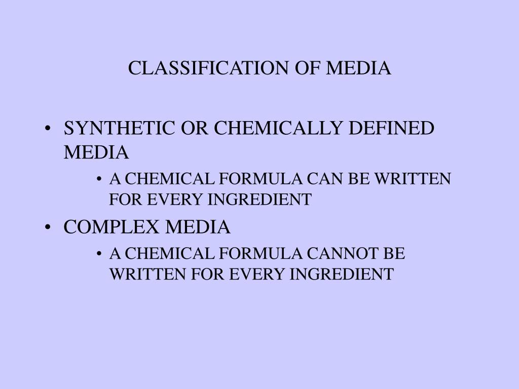 CLASSIFICATION OF MEDIA