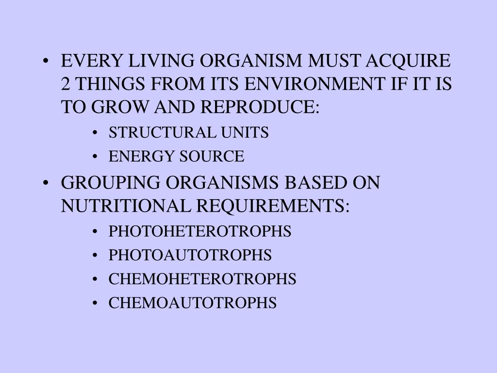 EVERY LIVING ORGANISM MUST ACQUIRE 2 THINGS FROM ITS ENVIRONMENT IF IT IS TO GROW AND REPRODUCE: