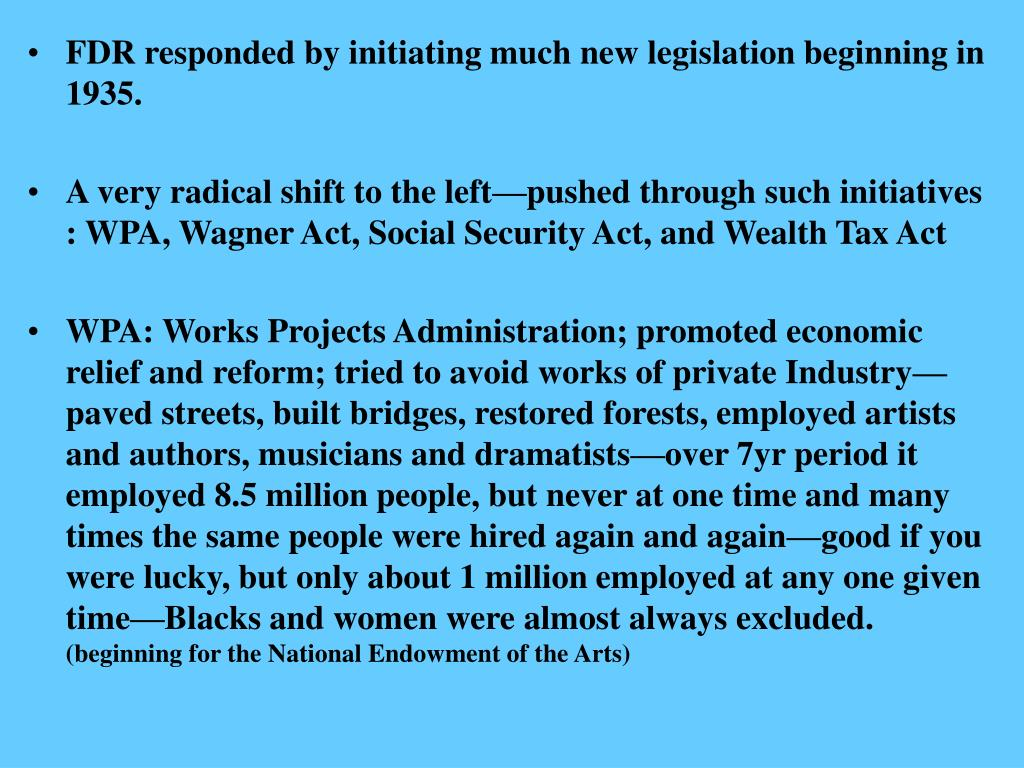 FDR responded by initiating much new legislation beginning in 1935.