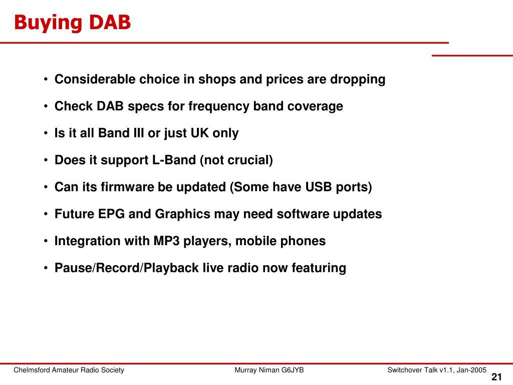 Buying DAB