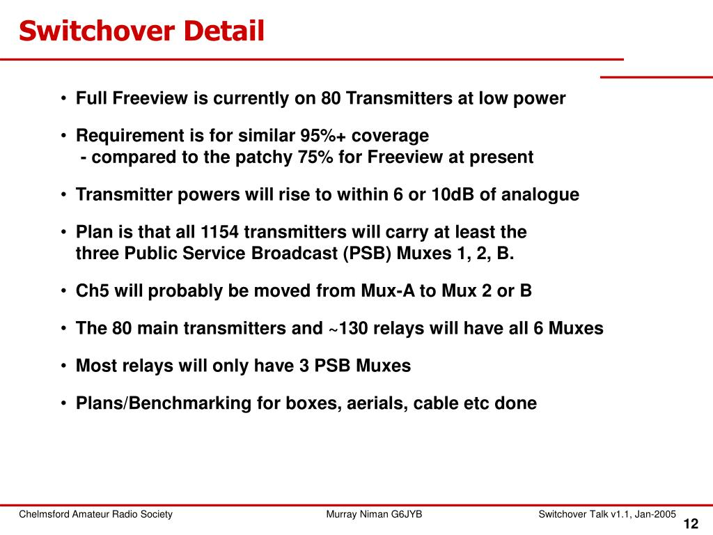 Switchover Detail