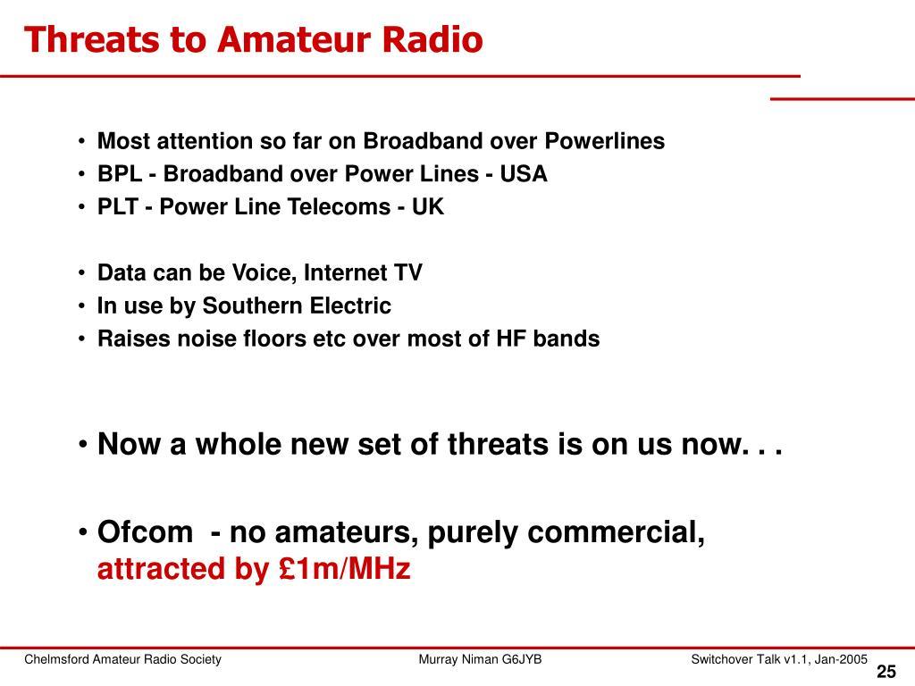 Threats to Amateur Radio