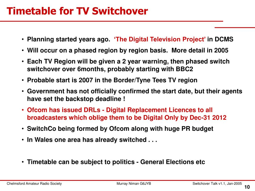 Timetable for TV Switchover