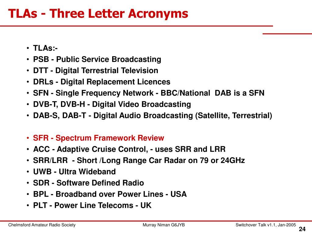 TLAs - Three Letter Acronyms