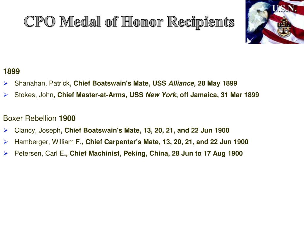 CPO Medal of Honor Recipients