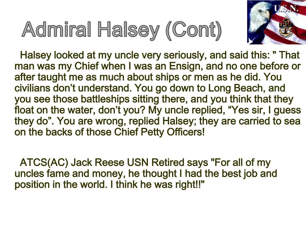 Admiral Halsey (Cont)