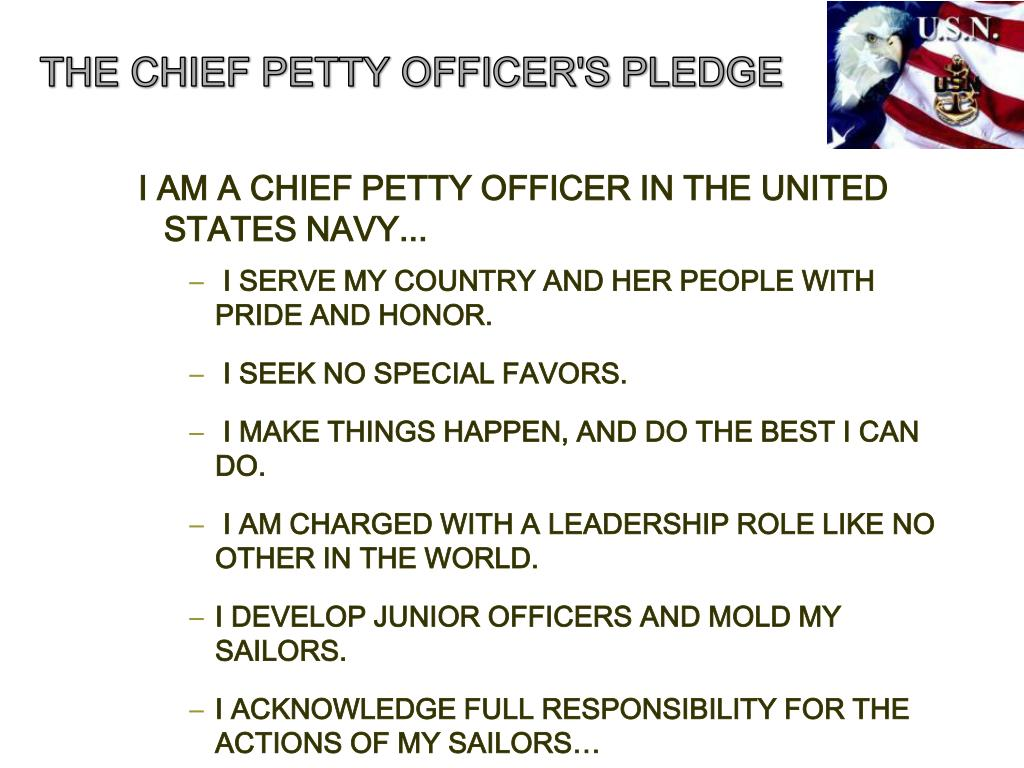 THE CHIEF PETTY OFFICER'S PLEDGE