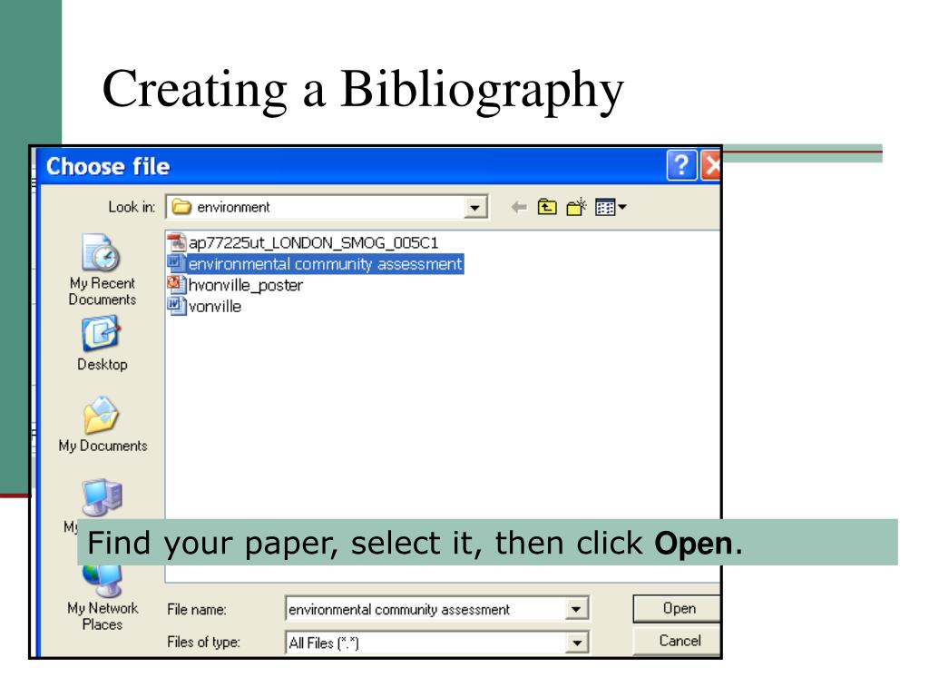 Creating a Bibliography